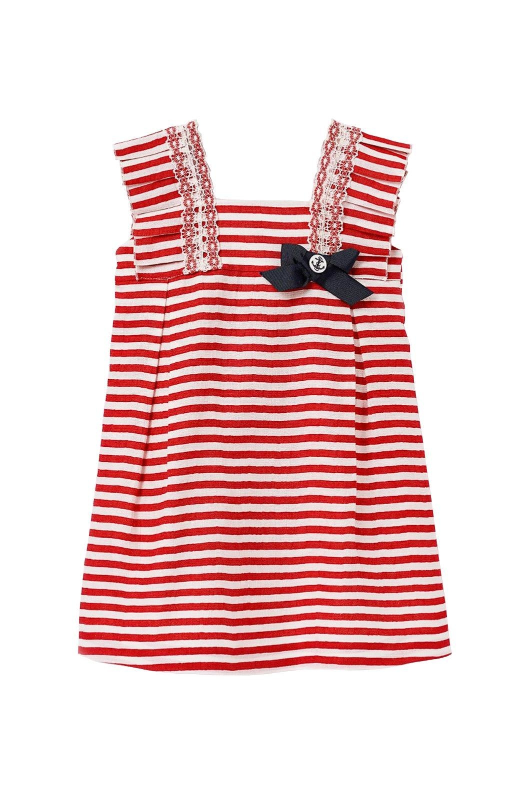 Paz Rodriguez Red Nautical Dress. - Front Cropped Image