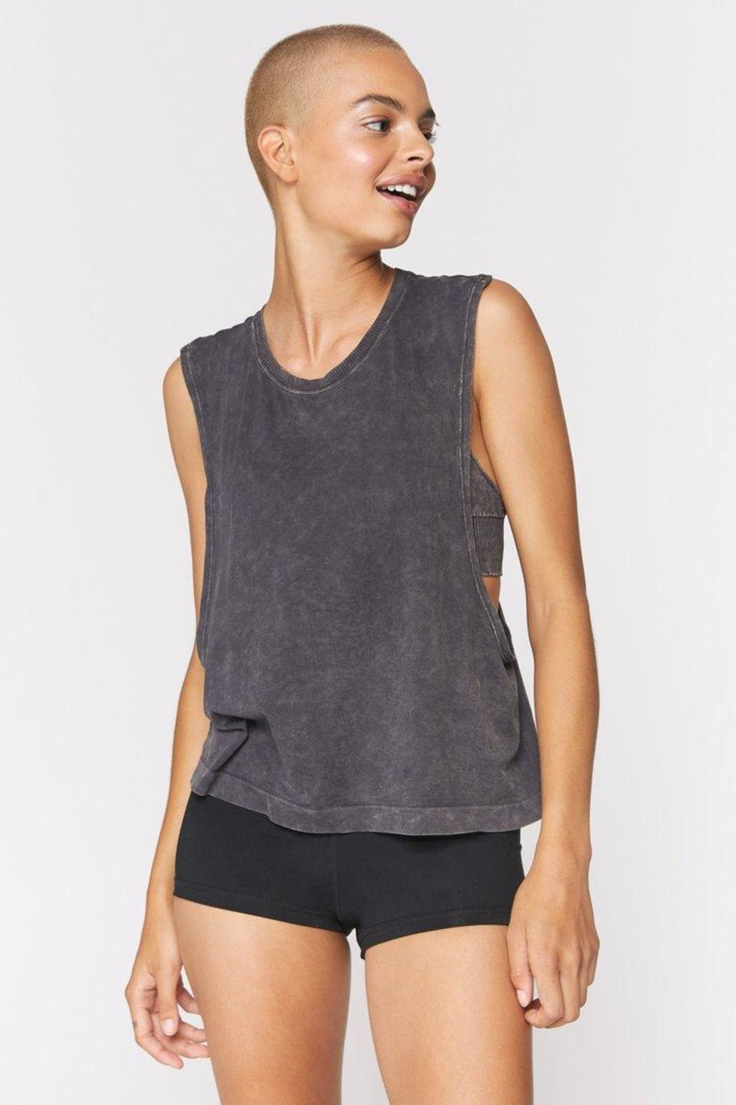 Spiritual Gangster  Peace Galaxy Active Flow Top - Front Cropped Image