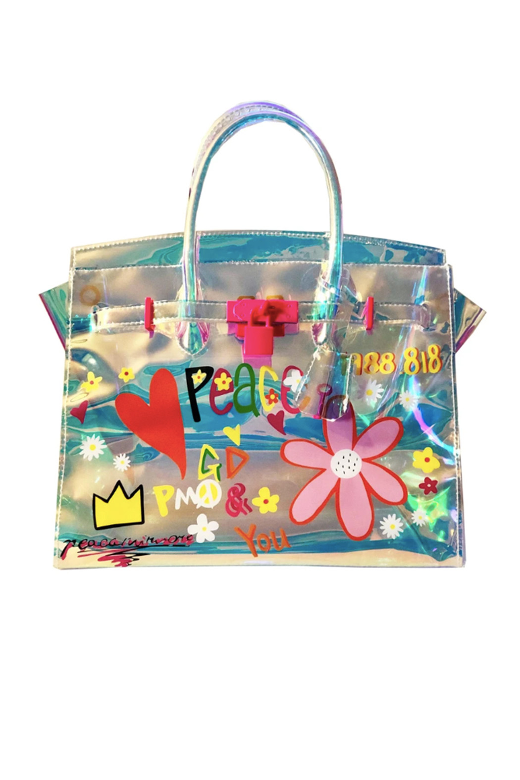 be clear handbags Peace + Love Graffiti Tote - Front Cropped Image