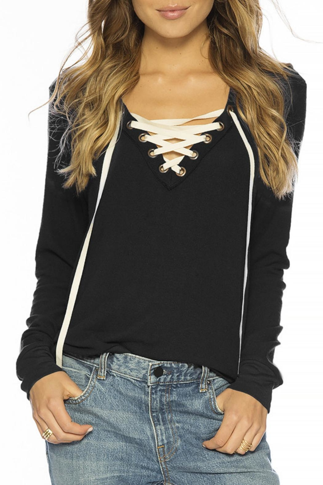 Peace Love World Lace Up Comfy Top Front Cropped Image