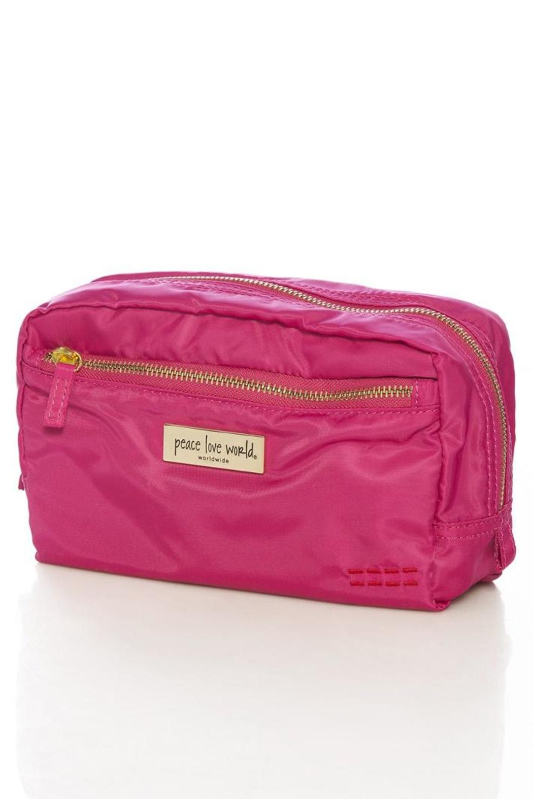 Peace Love World Pink Cosmetic Pouch Front Cropped Image
