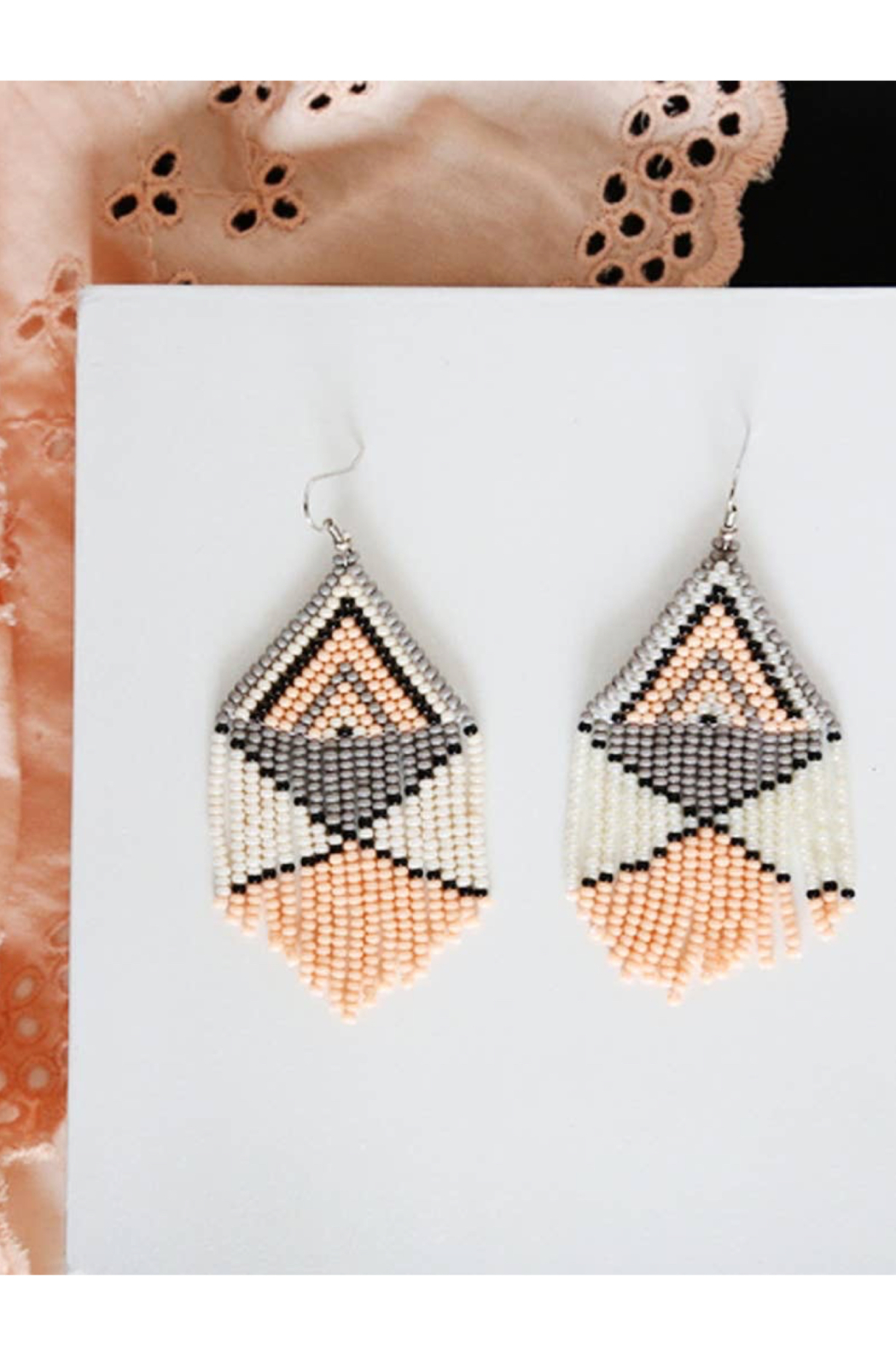 Fosterie  Peach Beaded Earrings - Side Cropped Image