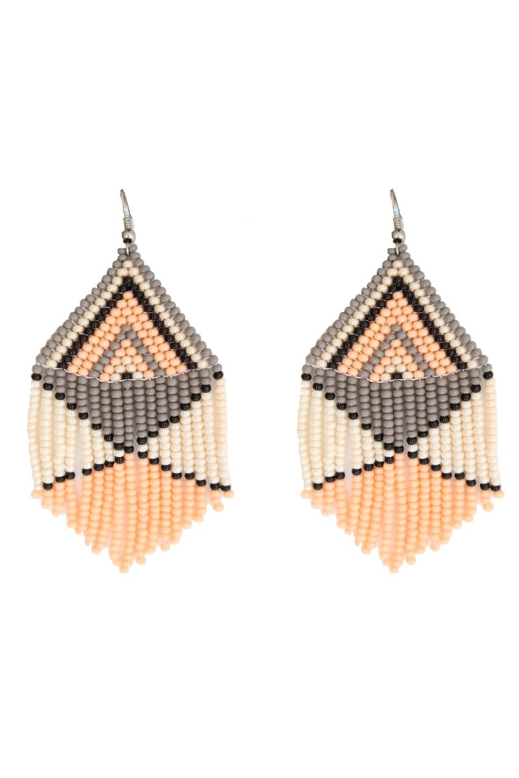 Fosterie  Peach Beaded Earrings - Front Cropped Image