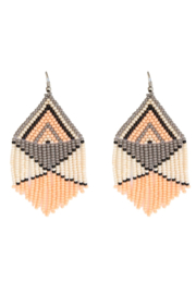 Fosterie  Peach Beaded Earrings - Front cropped