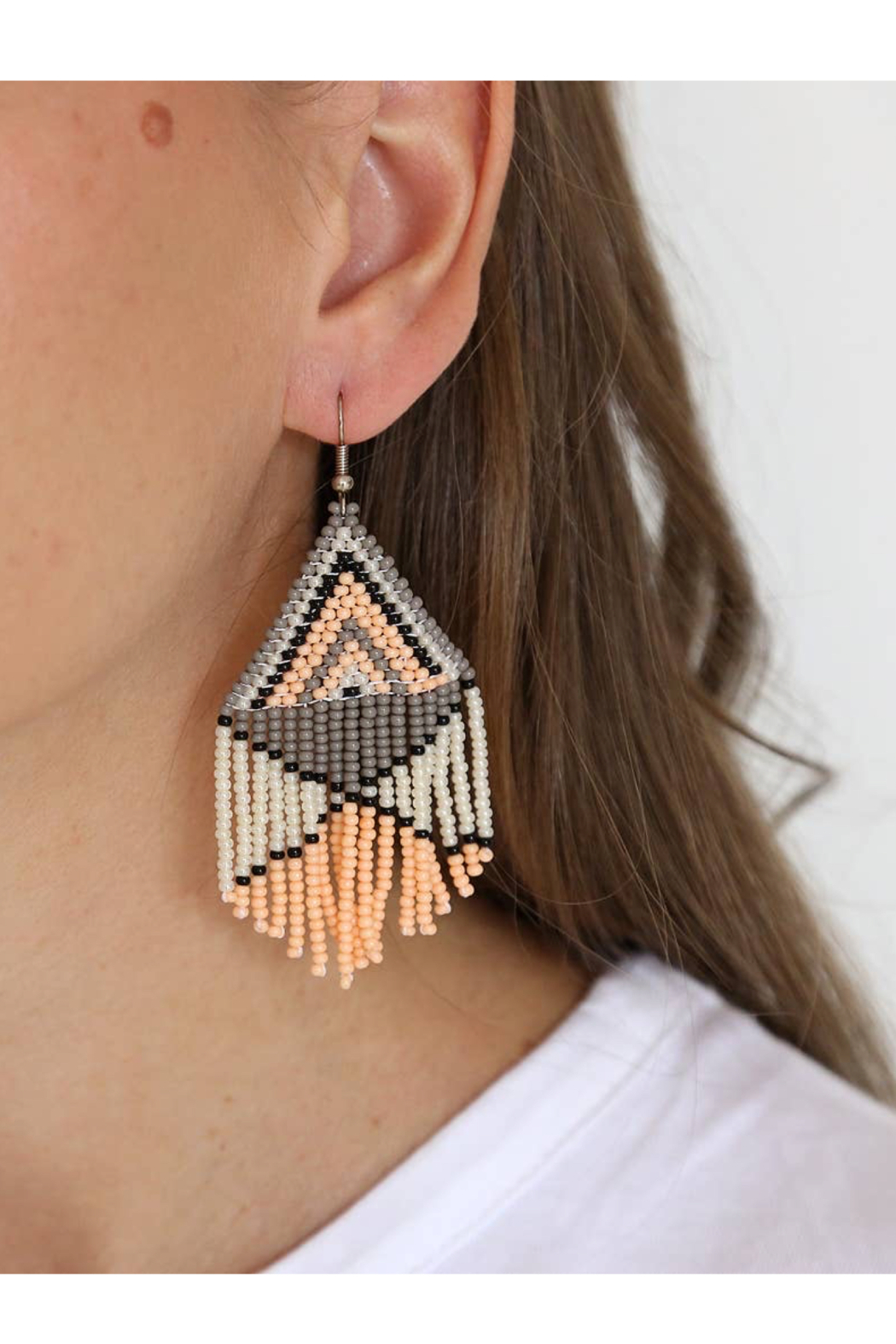 Fosterie  Peach Beaded Earrings - Front Full Image