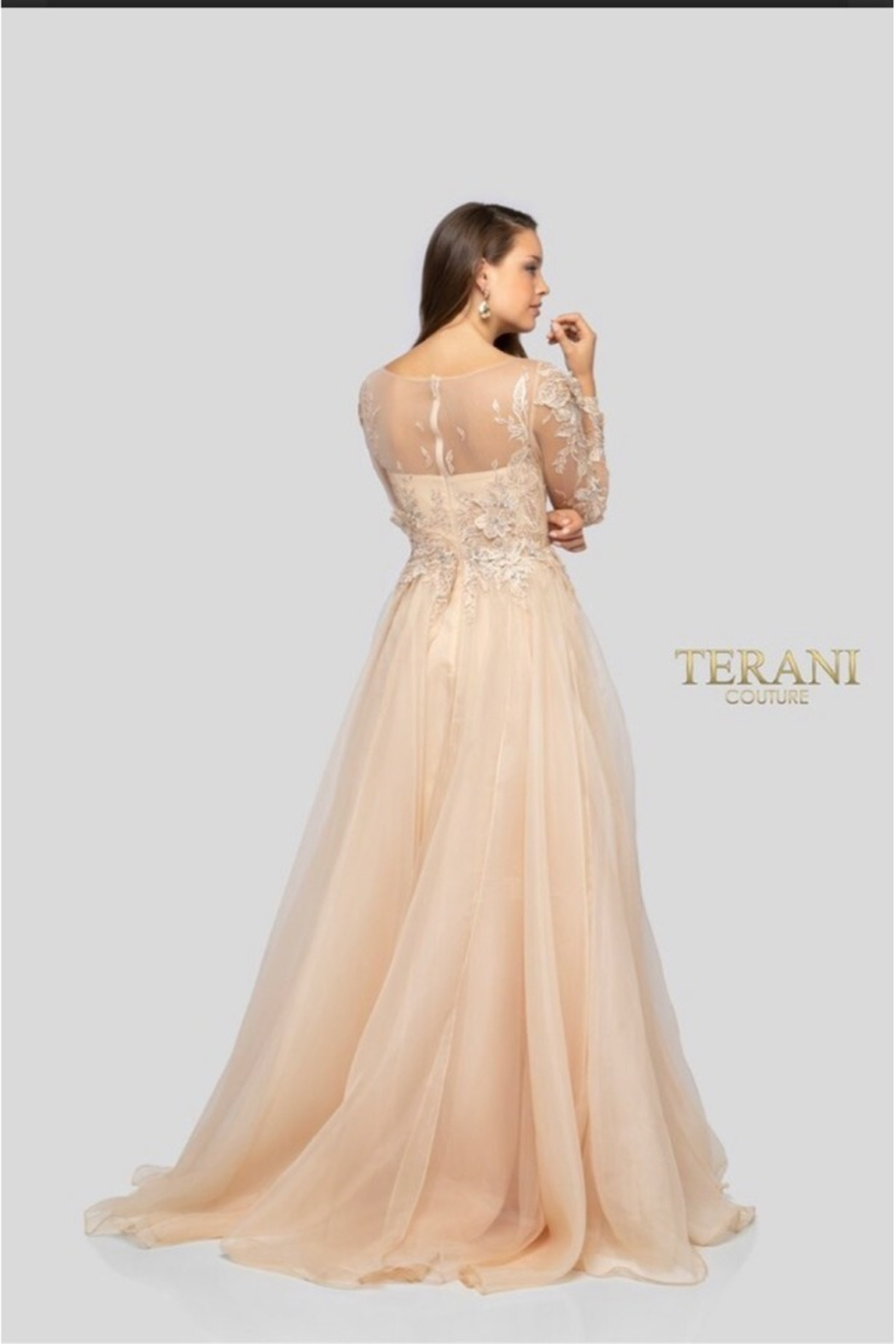 Terani Couture PEACH BLOSSOM GOWN - Side Cropped Image