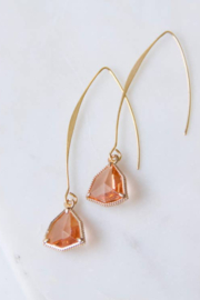 Mesa Blue Peach Crystal Drop Earrings - Product Mini Image