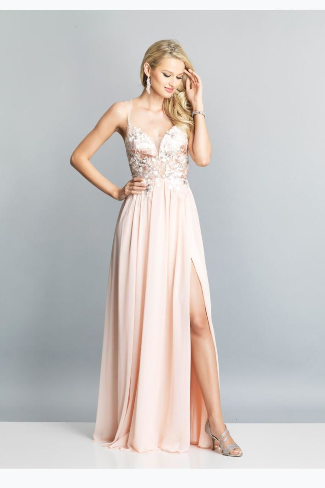 Dave and Johnny Peach Floral Gown - Main Image