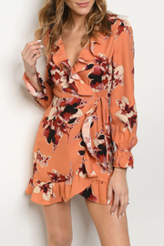 Honey Punch Peach Floral Ruffle Dress - Product Mini Image