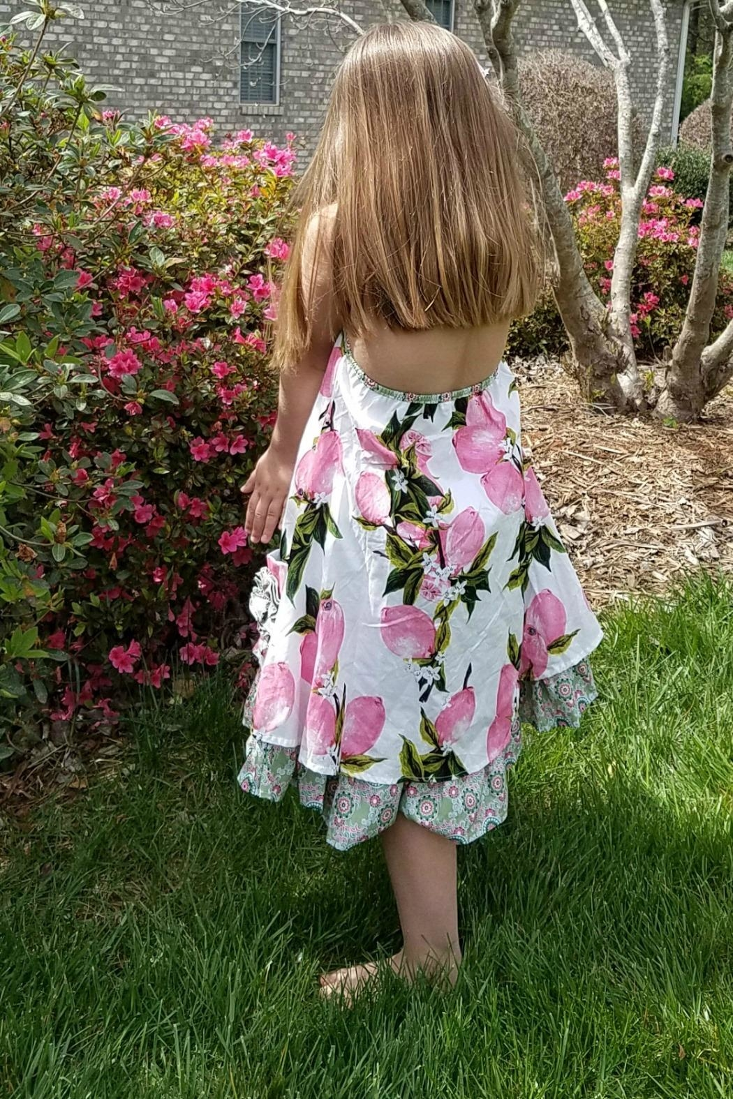 Gurly Bird Peach-Floral-Southern-Belle-Halter-Dress - Front Full Image