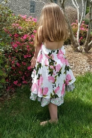Gurly Bird Peach-Floral-Southern-Belle-Halter-Dress - Front full body