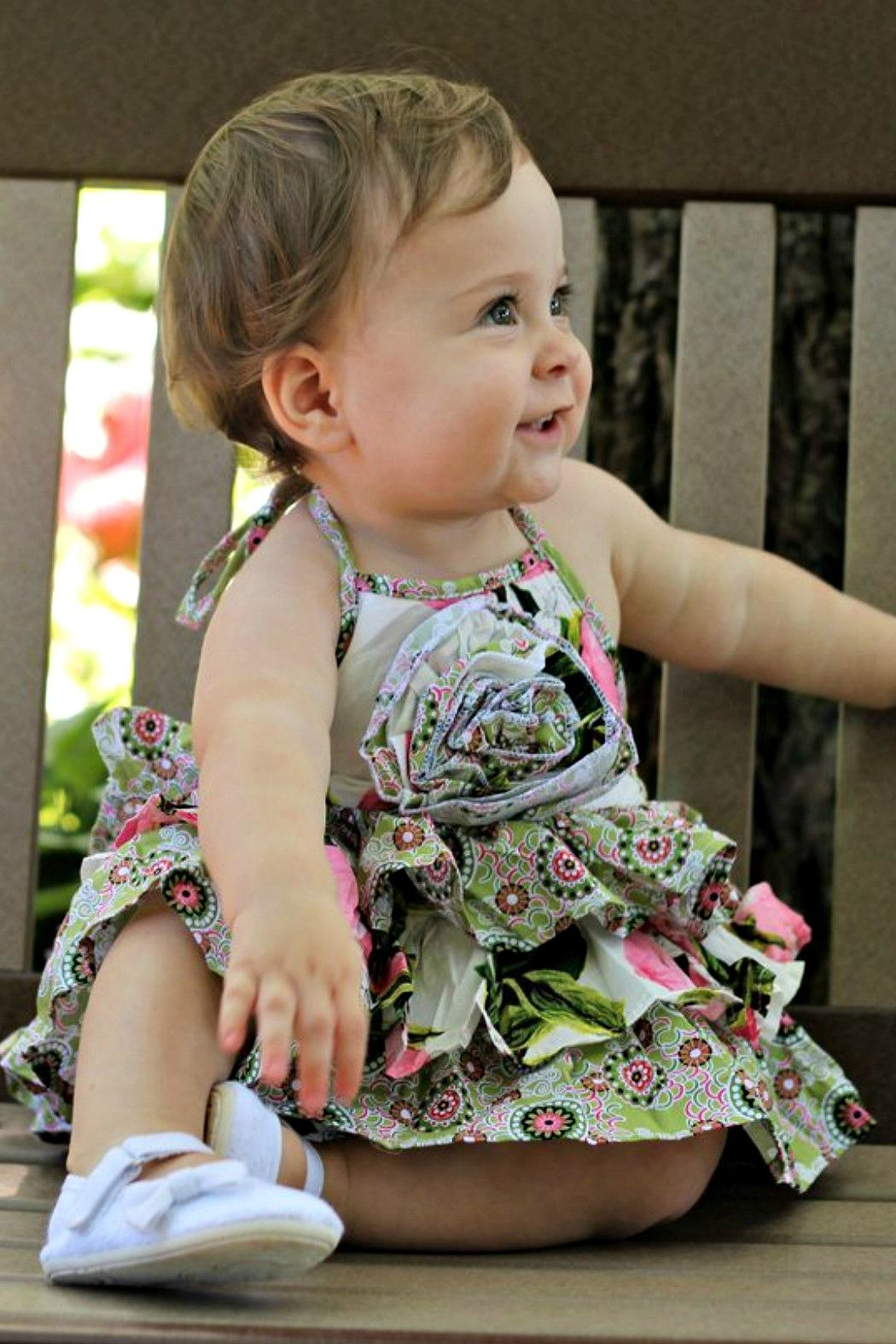 Gurly Bird Peach-Floral-Southern-Belle-Halter-Ruffled-Bubble - Main Image