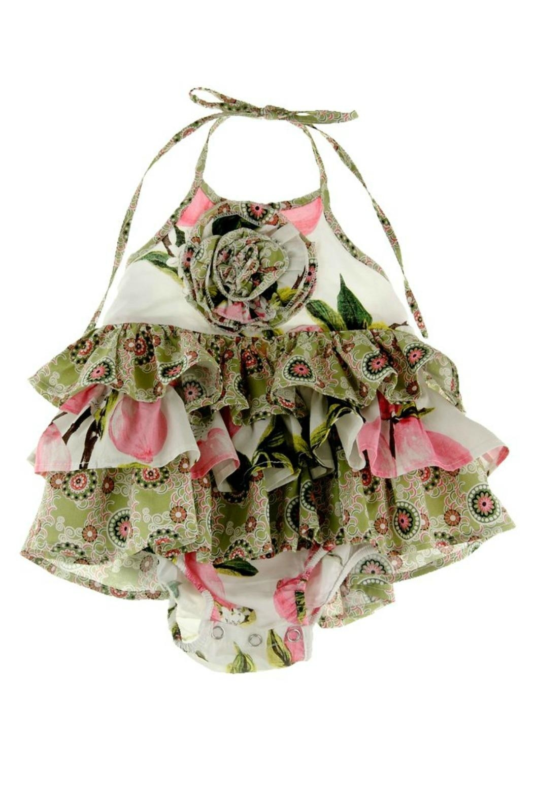 Gurly Bird Peach-Floral-Southern-Belle-Halter-Ruffled-Bubble - Front Full Image
