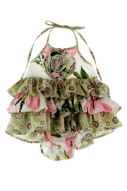 Gurly Bird Peach-Floral-Southern-Belle-Halter-Ruffled-Bubble - Front full body