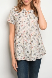 Les Amis Peach Gray Top - Product Mini Image