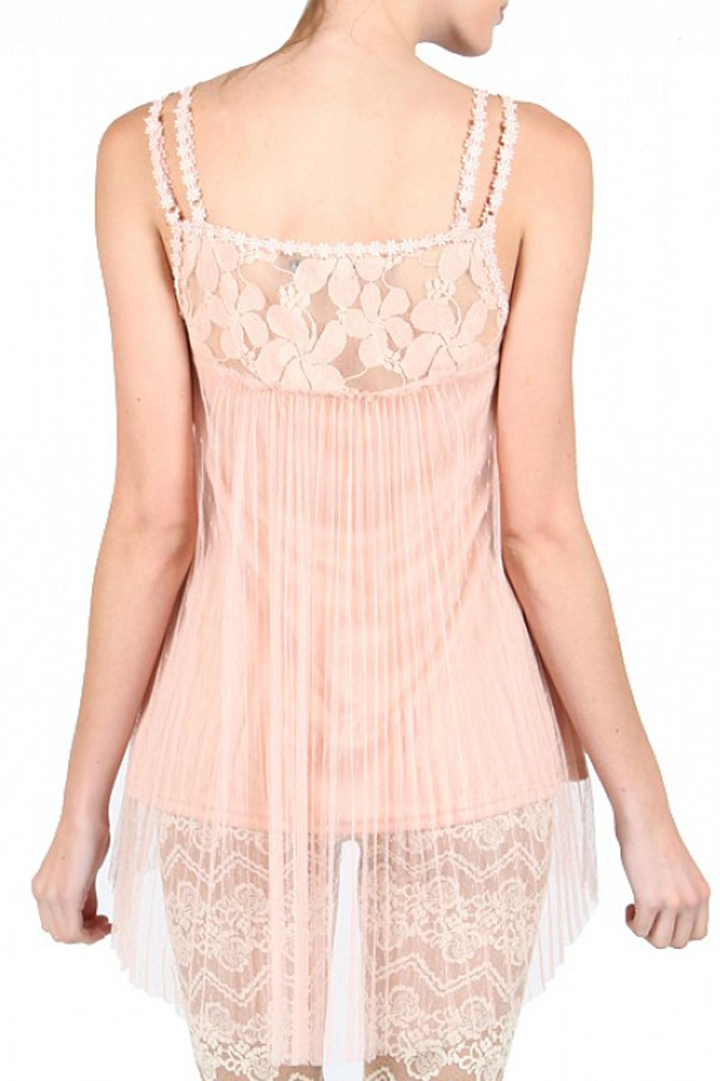 The Vintage Valet Peach Lace Tank - Side Cropped Image