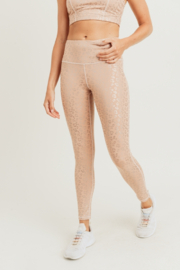 Mono B  Peach Leopard Foil High Waisted Leggings - Front cropped