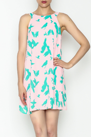Peach Love California Bird Print Dress - Product Mini Image