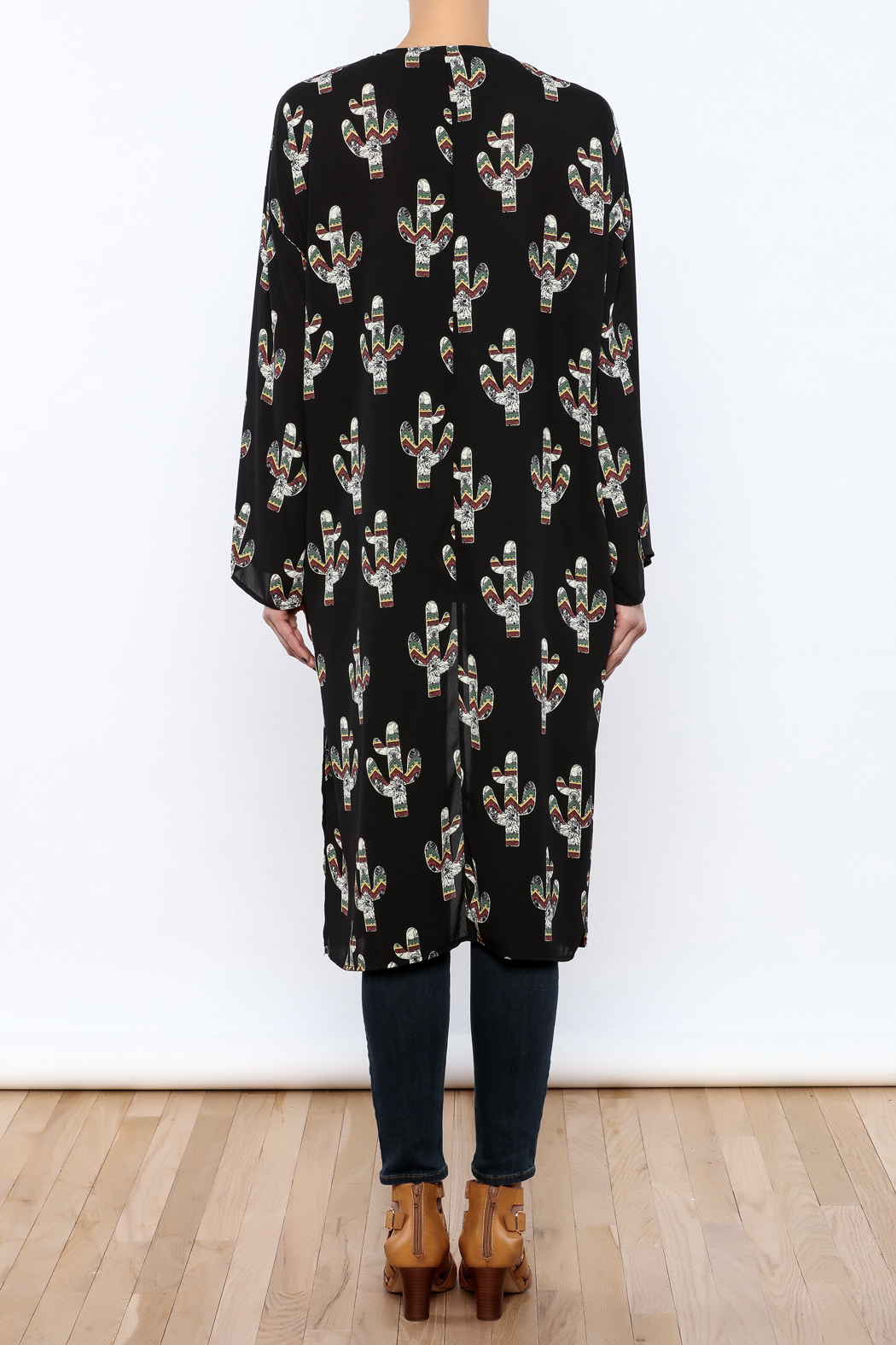 Peach Love California Cactus Print Kimono From South