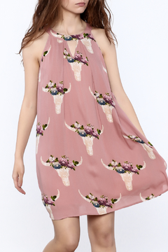 Peach Love California Floral Halter Dress - Product List Image