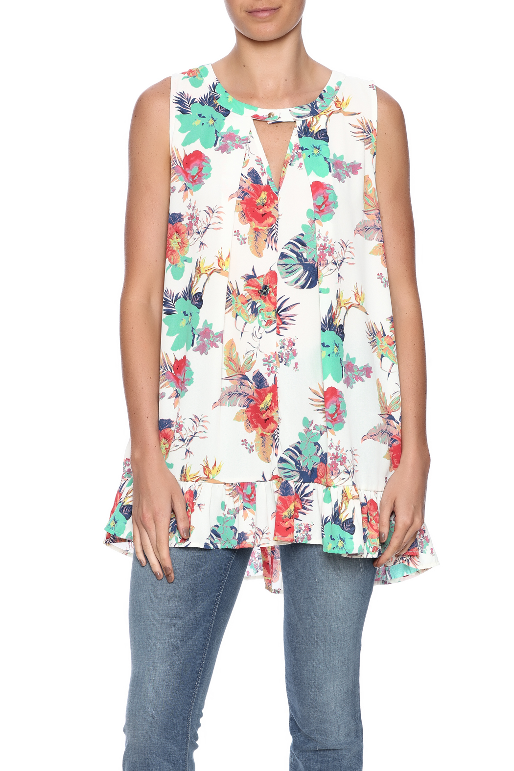 Peach Love California Floral Ruffle Tunic - Side Cropped Image