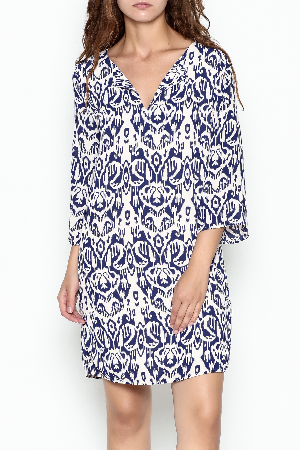 Peach Love California Ikat Blue Dress - Front Cropped Image