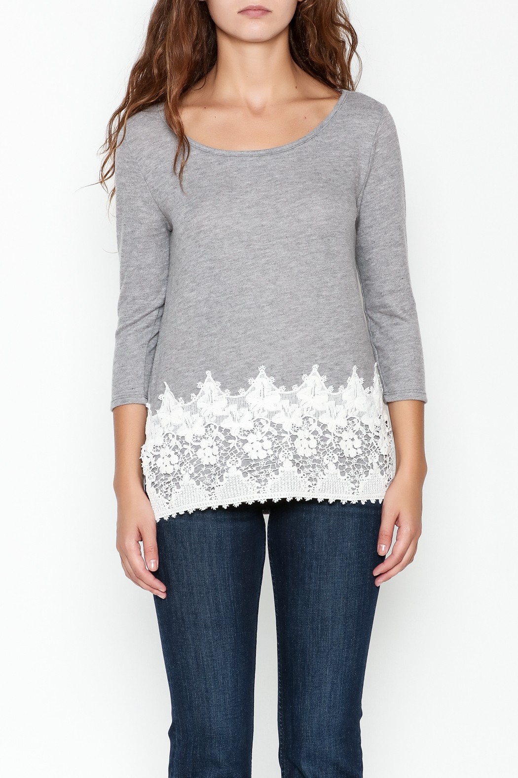 Peach Love California Lucy Lace Knit Top - Front Full Image