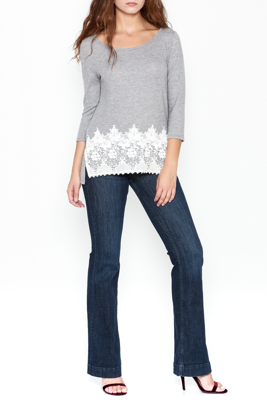 Peach Love California Lucy Lace Knit Top - Side Cropped Image
