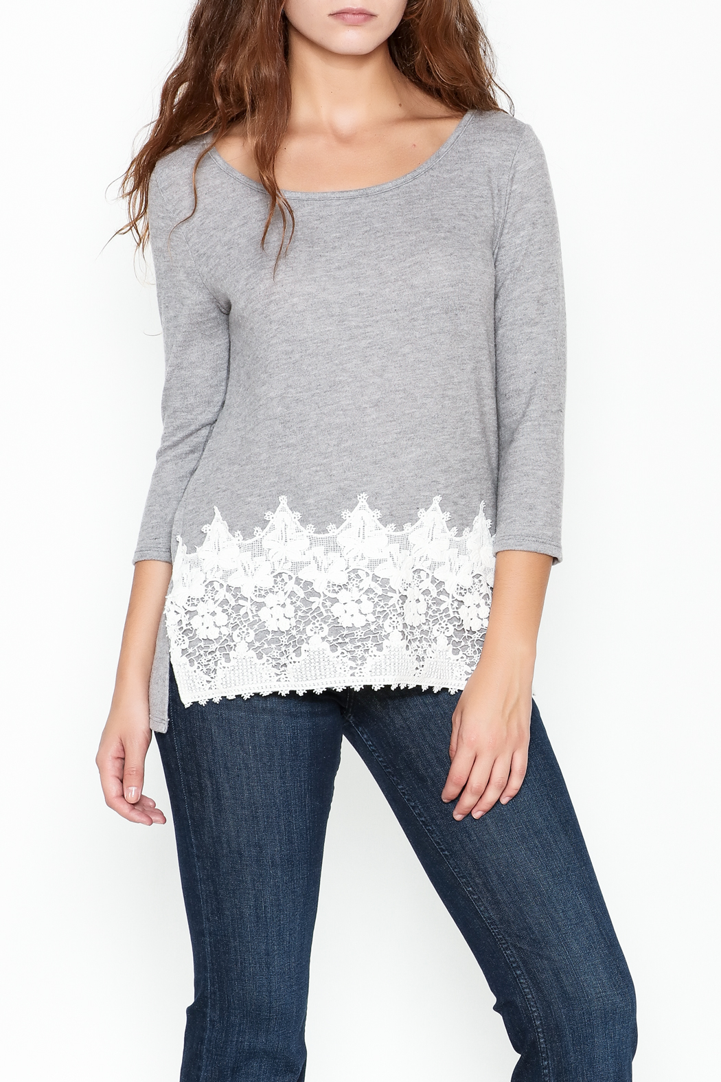 Peach Love California Lucy Lace Knit Top - Main Image