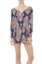Peach Love California Printed Knit Romper - Front cropped