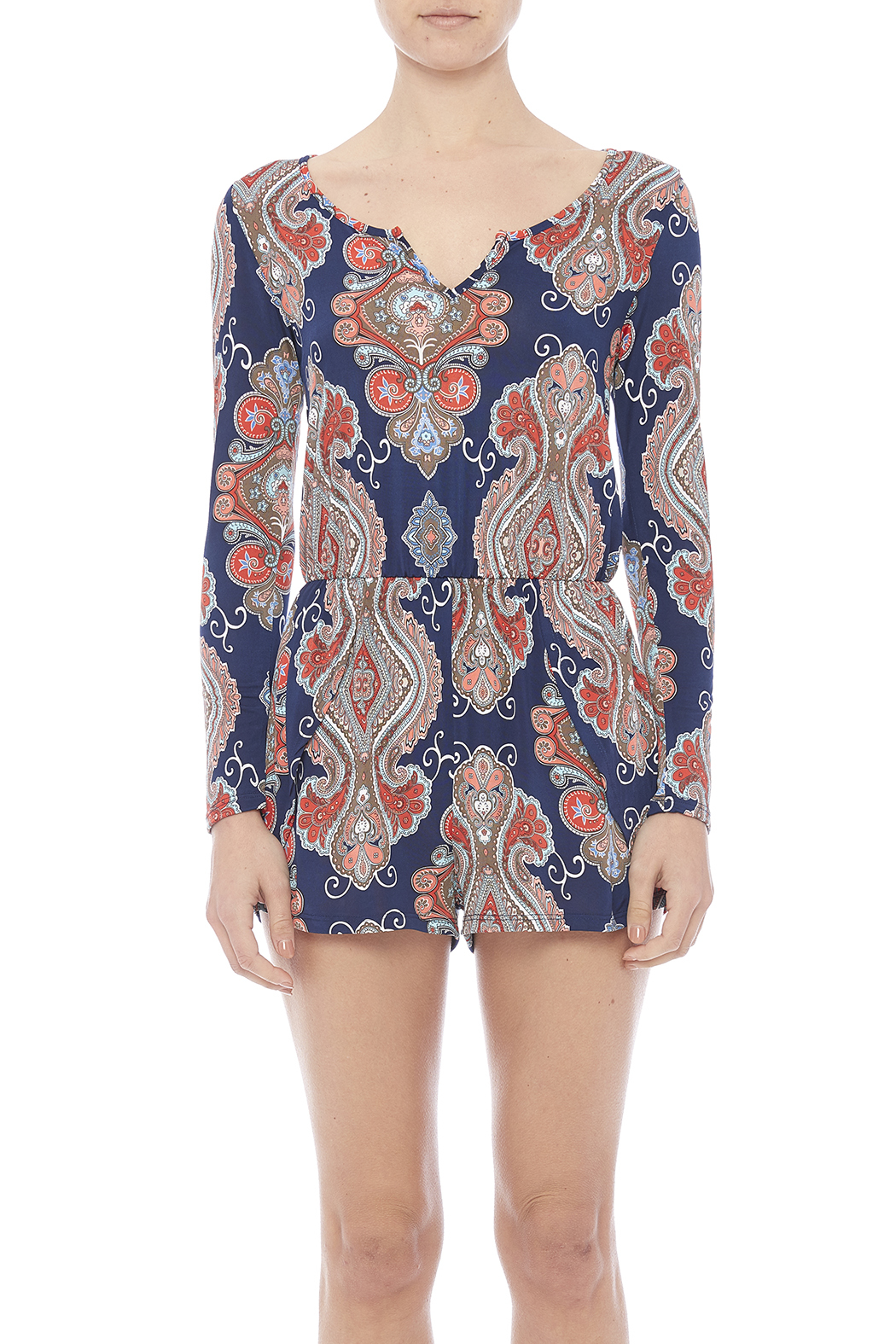 Peach Love California Printed Knit Romper - Side Cropped Image