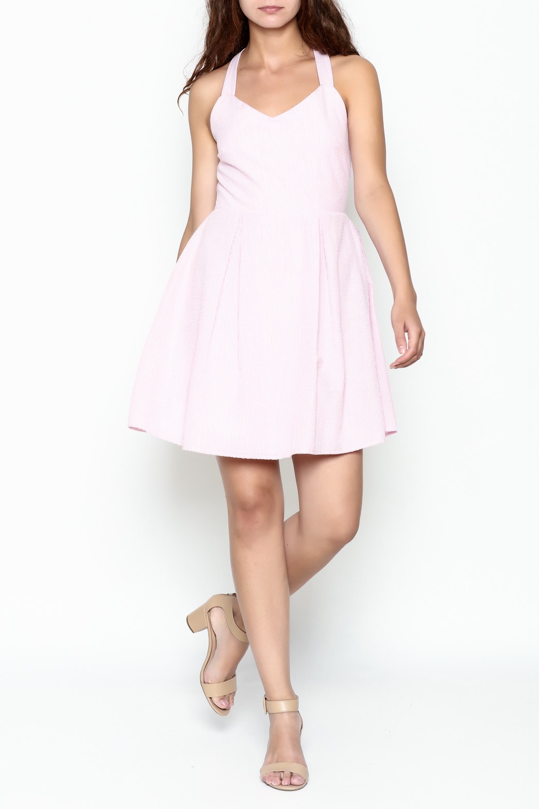 Peach Love California Seersucker Bow Dress - Side Cropped Image