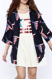 Peach Love California Navy Graphic Kimono - Product Mini Image