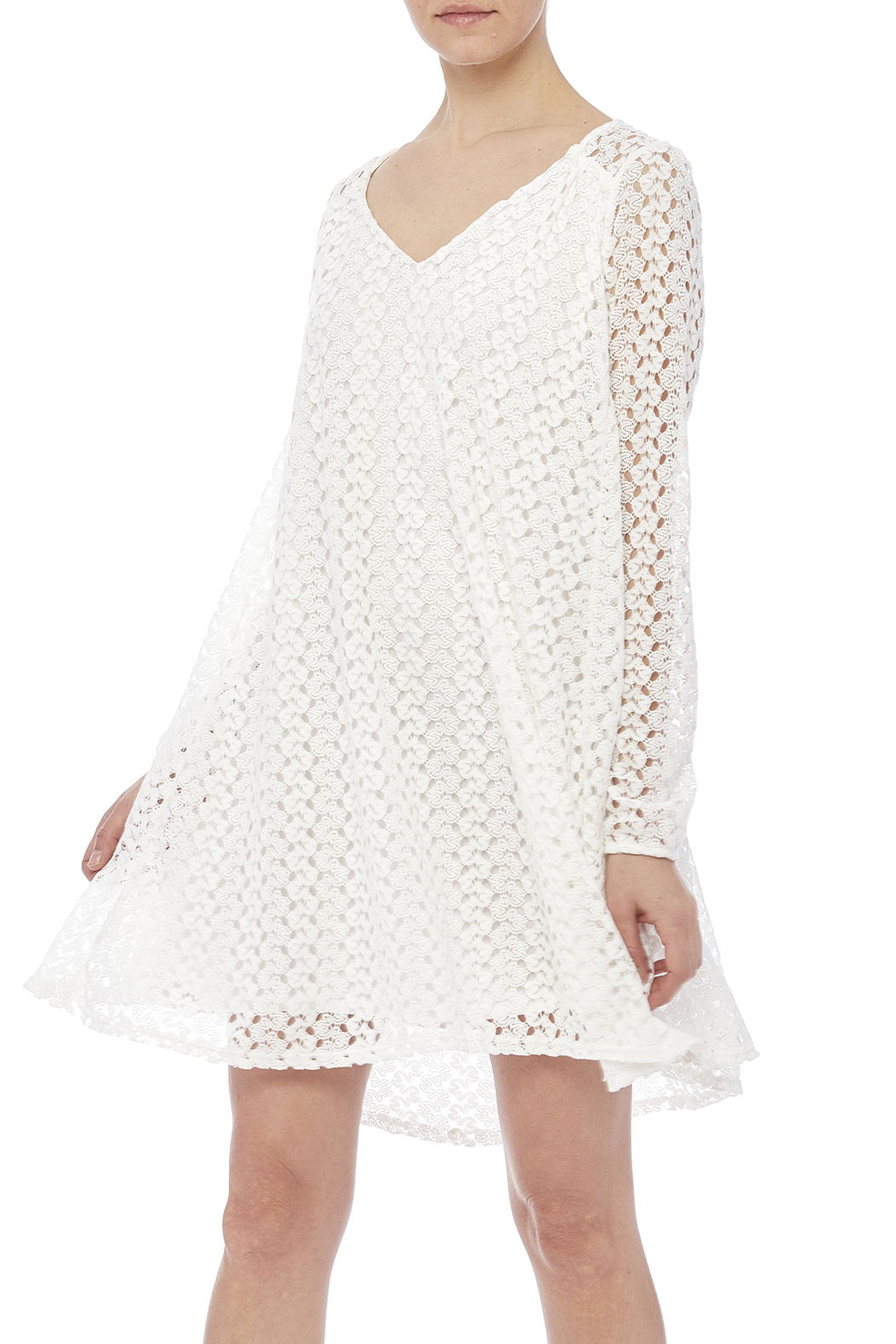Peach Love California White Lace Dress - Front Cropped Image