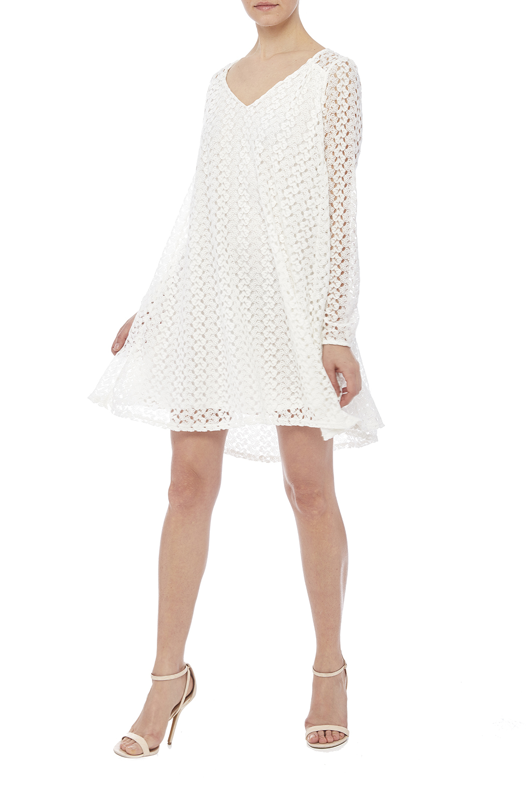 Peach Love California White Lace Dress - Front Full Image
