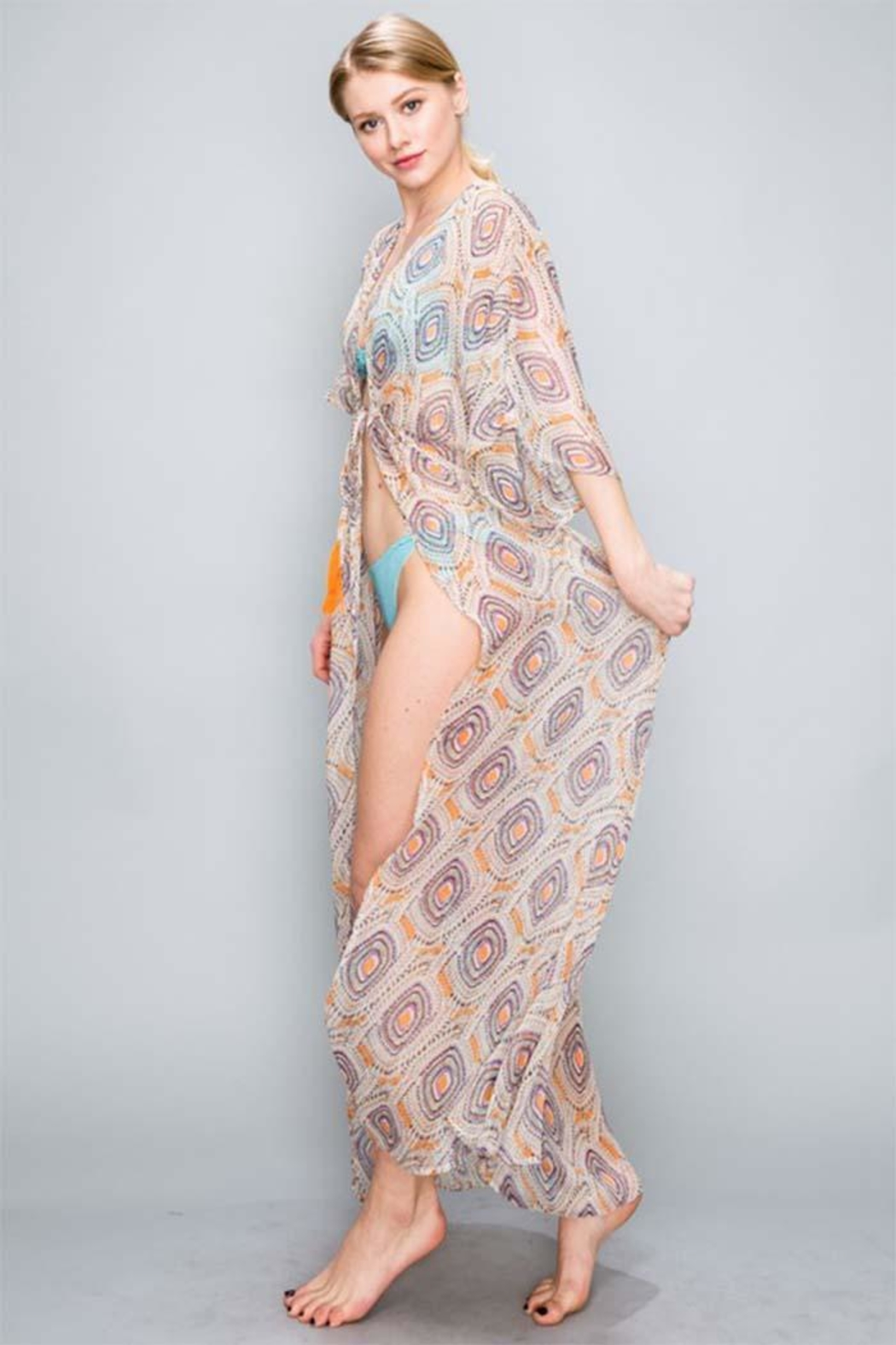 AAKAA Peach Maxi Coverup - Side Cropped Image