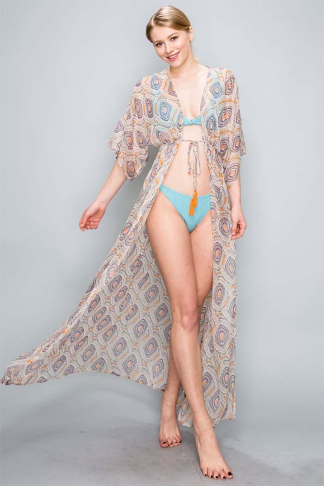 AAKAA Peach Maxi Coverup - Front Full Image