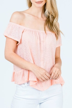 Cozy Casual Peach Off-The-Shoulder Top - Product List Image