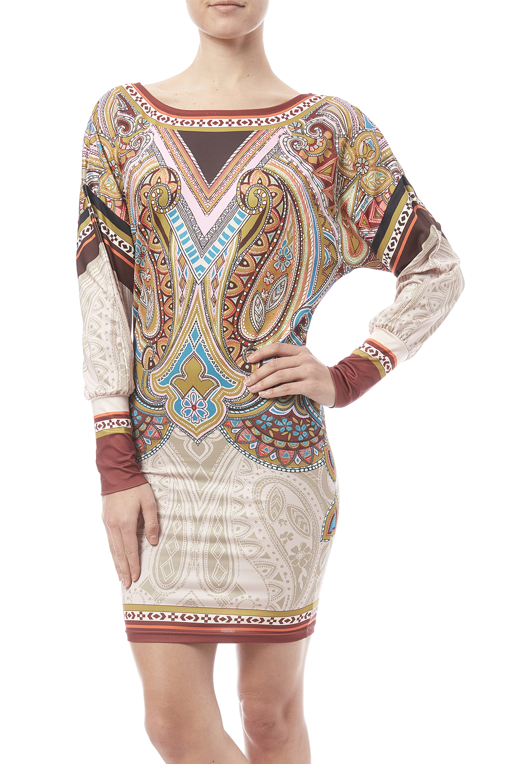 peach puff Paisley Dress - Front Cropped Image