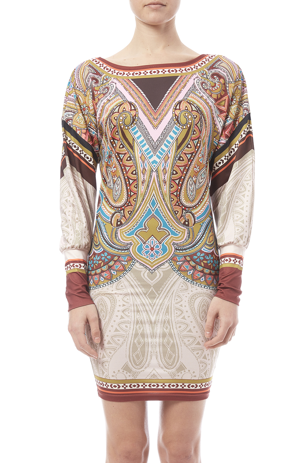 peach puff Paisley Dress - Side Cropped Image