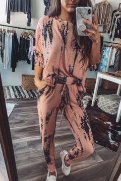 Fornia Peach Tie Dye LS & Jogger Lounge Set - Alternate List Image