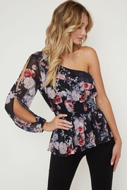 Peach Love California Asymmetrical Floral Blouse - Product Mini Image
