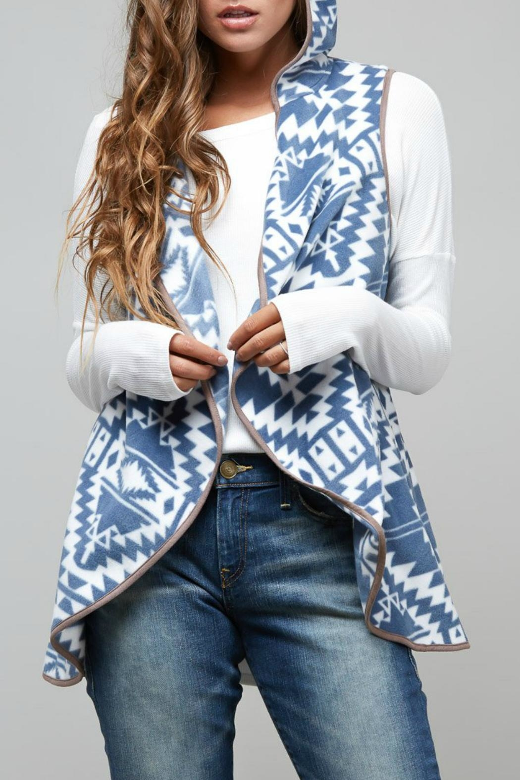 Peach Love California Aztec Hooded-Fleece Vest - Front Cropped Image