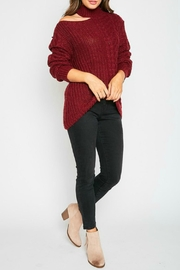 Peach Love California Brittany One-Shoulder Sweater - Front full body
