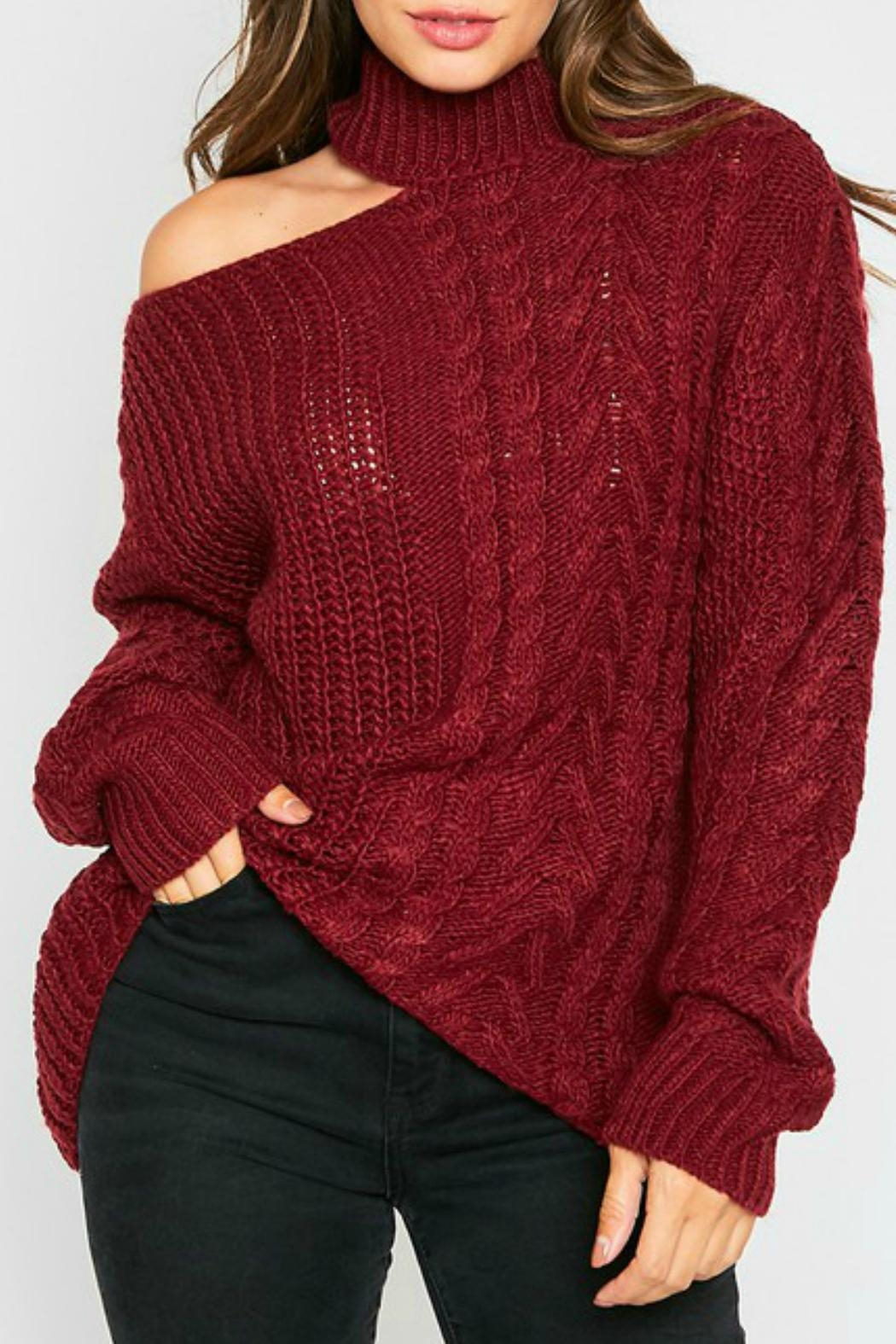 Peach Love California Brittany One-Shoulder Sweater - Main Image