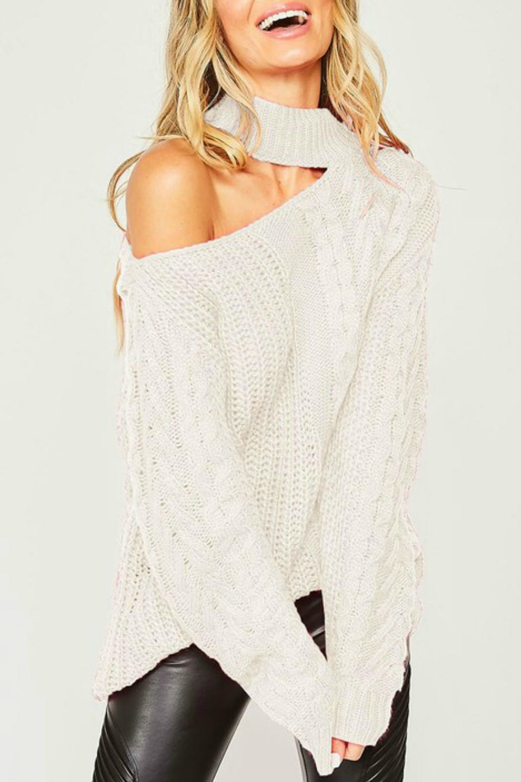 Peach Love California Brittany One-Shoulder Sweater - Front Cropped Image
