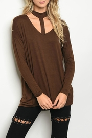 Peach Love California Brown Top - Front cropped