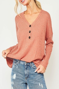 Peach Love California Button-Down Waffle-Knit Top - Product List Image