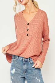 Peach Love California Button-Down Waffle-Knit Top - Product Mini Image