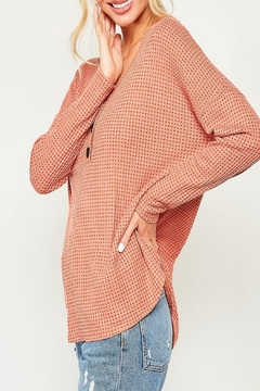 Peach Love California Button-Down Waffle-Knit Top - Alternate List Image